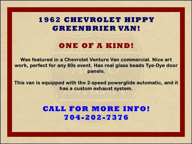 1962 Chevrolet Corvair HIPPY GREENBRIER VAN! ONE OF A KIND! Mooresville , NC 1