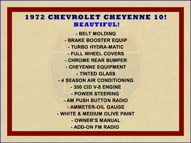 1972 Chevrolet Cheyenne 10 RWD - 350 V8 - AUTO - AIR CONDITIONING! Mooresville , NC 1