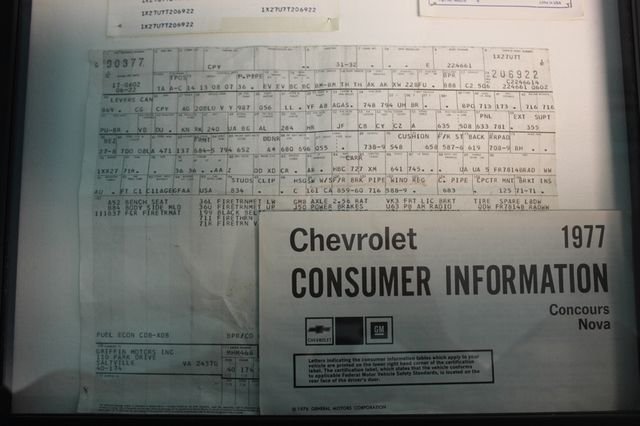 1977 Chevrolet Nova ORIGINAL BUILD SHEET! Mooresville , NC 64
