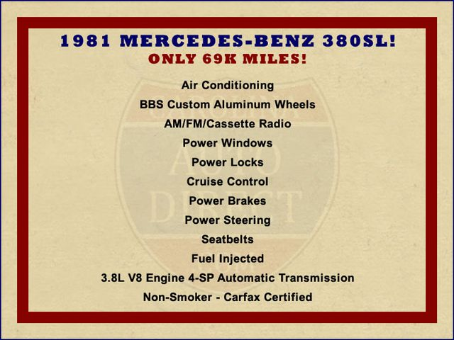 1981 Mercedes-Benz 380 Series 380SL - ONLY 69K MILES! Mooresville , NC 1