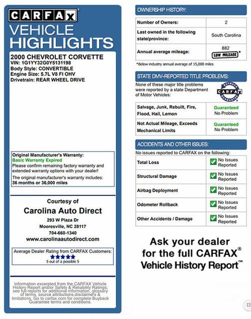 2000 Chevrolet Corvette Convertible - ONLY 15K MILES! Mooresville , NC 3