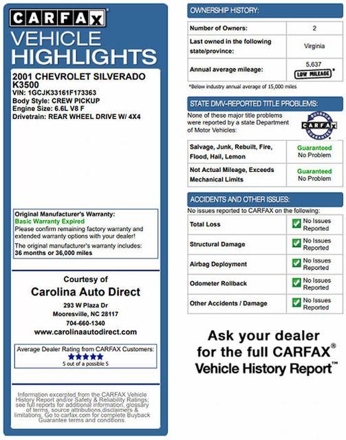 2001 Chevrolet Silverado 3500 LS Crew Cab Long Bed - 4x4 - LEATHER BUCKETS Mooresville , NC 3