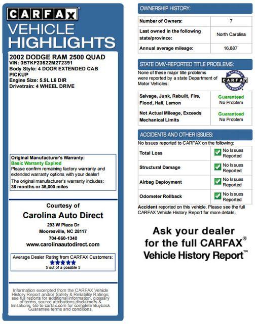 2002 Dodge Ram 2500 Quad Cab 4x4 - LIFTED - 5.9L CUMMINS DIESEL! Mooresville , NC 3