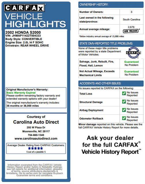 2002 Honda S2000 MICHELIN TIRES - COVER - WINDOW STICKER! Mooresville , NC 3