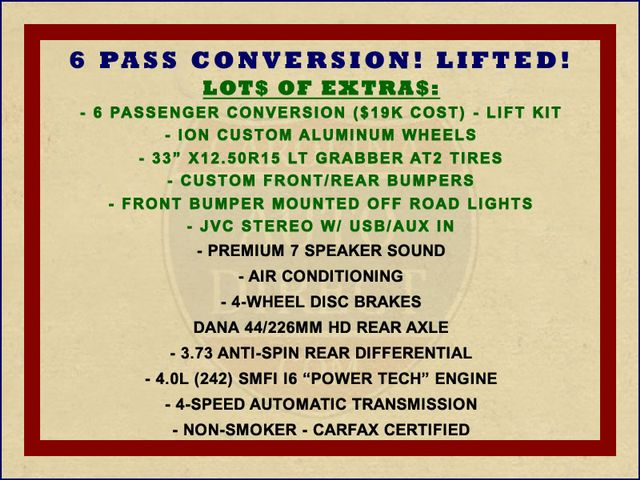 2003 Jeep Wrangler Sport 4X4 - LIFTED - 6 PASS CONVERSION! Mooresville , NC 1