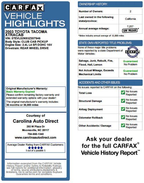 2003 Toyota Tacoma SR5 XtraCab RWD - REAR SLIDER - ALLOYS! Mooresville , NC 3