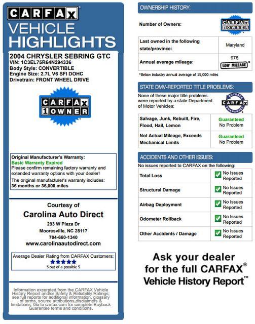 2004 Chrysler Sebring GTC - ONLY 13K MILES - BRAND NEW TIRES! Mooresville , NC 3