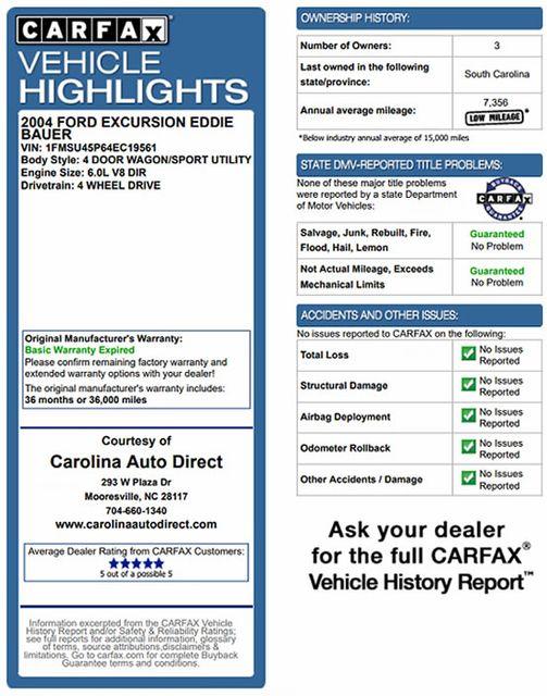 2004 Ford Excursion Eddie Bauer PREMIER 4X4 - TURBO DIESEL - REAR DVD! Mooresville , NC 3