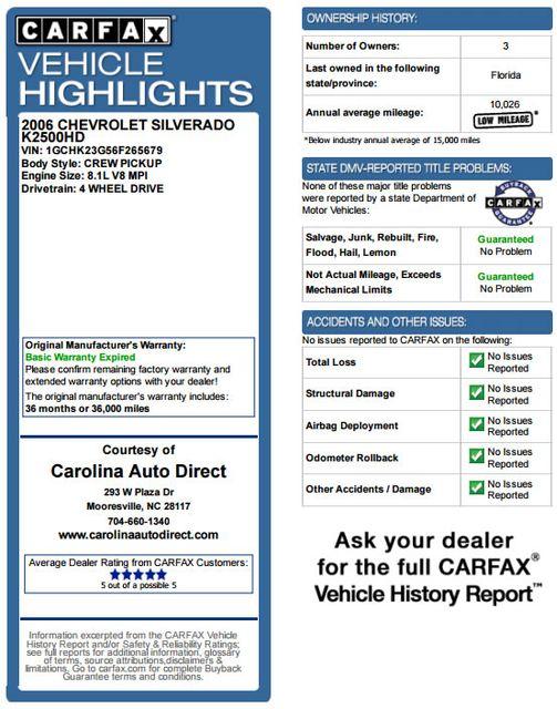 2006 Chevrolet Silverado 2500HD LT2 Crew Cab 4x4 - 8.1L BIG BLOCK V8! Mooresville , NC 3