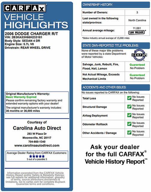 2006 Dodge Charger R/T - ELECTRONICS/CONVENIENCE/SOUND PKGS Mooresville , NC 3