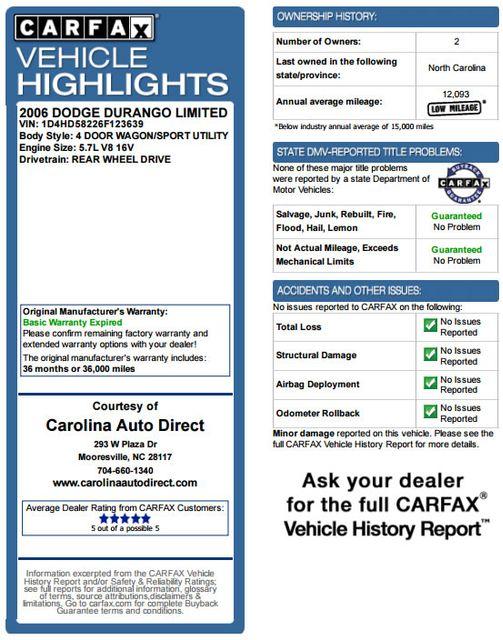 2006 Dodge Durango Limited RWD - HEMI - REAR DVD - SUNROOF! Mooresville , NC 3