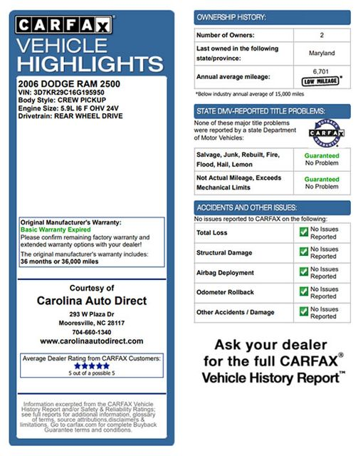 2006 Dodge Ram 2500 SLT MEGA Cab RWD - 5.9L CUMMINS DIESEL! Mooresville , NC 3