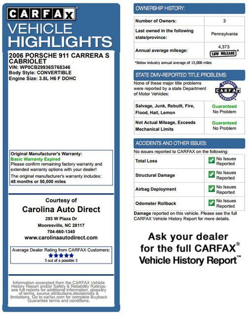 2006 Porsche 911 Carrera S Cabriolet - NAVIGATION - HEATED LEATHER! Mooresville , NC 3