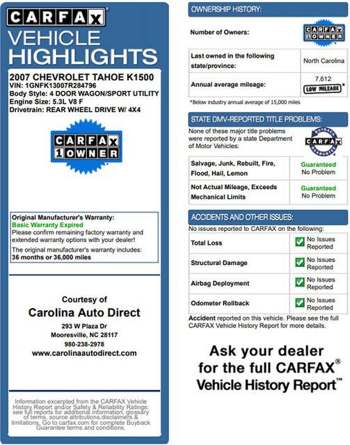 2007 Chevrolet Tahoe LT/LT3 (LTZ EQUIPPED) 4X4 - REAR DVD - SUNROOF Mooresville , NC 3