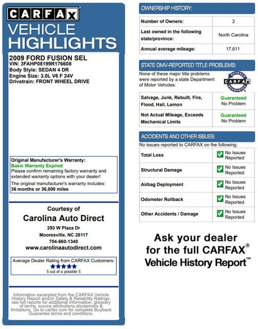 2009 Ford Fusion SEL FWD - MOON & TUNE PKG - HEATED LEATHER! Mooresville , NC 3