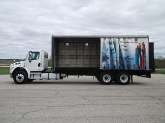 2009 Freightliner M2 24' Cargo Truck, Sliding Curtains, Lift, Auto ., . 2