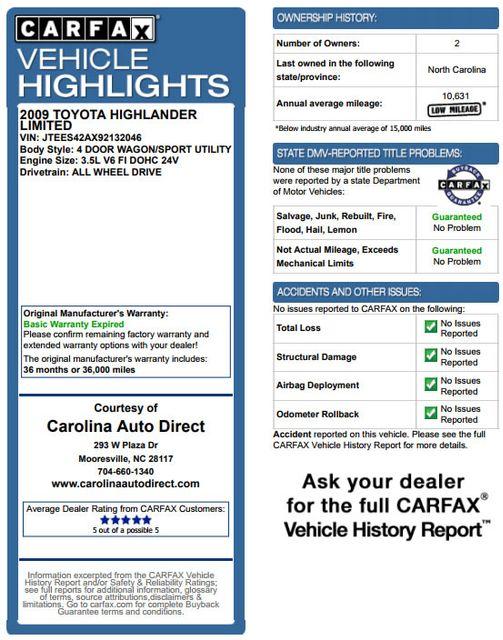 2009 Toyota Highlander Limited 4WD - NAVIGATION - REAR DVD - SUNROOF! Mooresville , NC 3