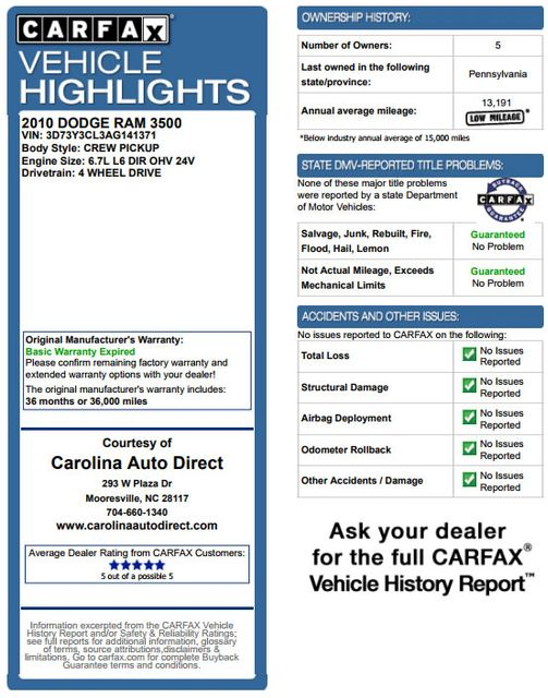 2010 Dodge Ram 3500 Crew Cab Long Bed 4x4 -TRUE MANUAL SHIFT! Mooresville , NC 3