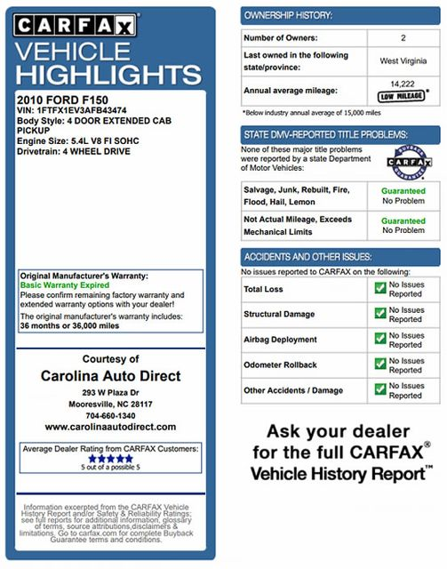 2010 Ford F-150 XLT SuperCab 4x4 - SERVICE RECORD! Mooresville , NC 3