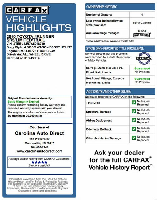 2010 Toyota 4Runner SR5 4WD - SUNROOF! Mooresville , NC 3