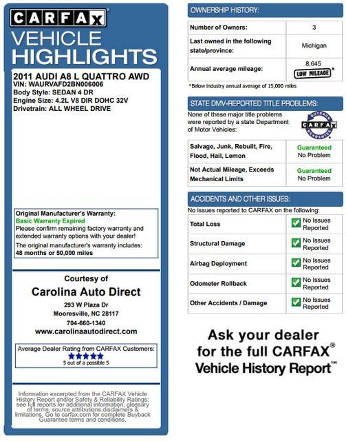 2011 Audi A8 L QUATTRO AWD - DRIVER ASSISTANCE PKG! Mooresville , NC 3