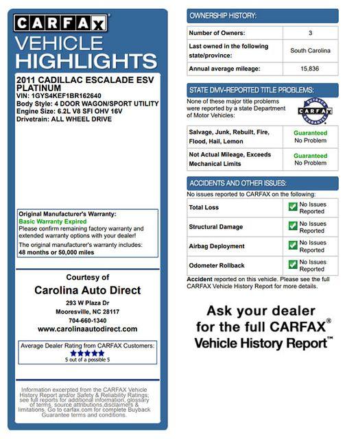2011 Cadillac Escalade ESV Platinum Edition AWD - TOP OF THE LINE! Mooresville , NC 3