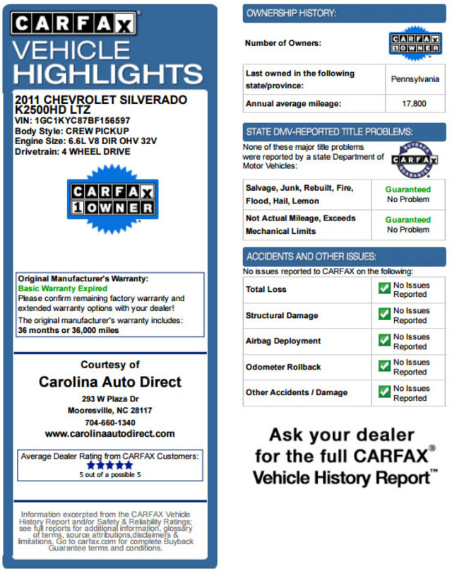2011 Chevrolet Silverado 2500HD LTZ PLUS Crew Cab 4x4 - DURAMAX/ALLISION! Mooresville , NC 3
