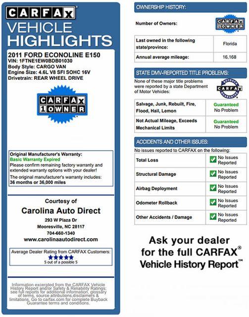 2011 Ford E-Series Cargo Van Commercial E-150 - POWER PKG - RACKS/BINS! Mooresville , NC 3