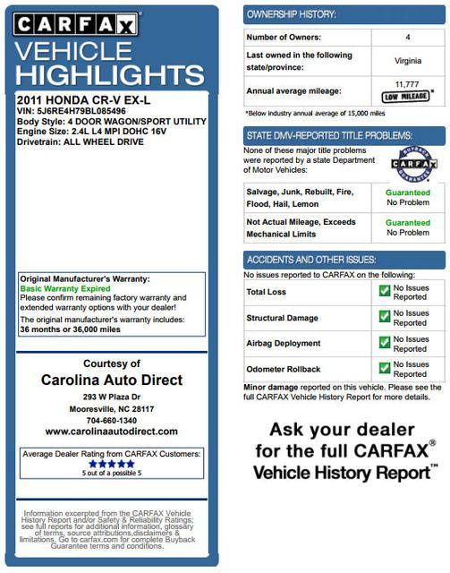2011 Honda CR-V EX-L-AWD - SUNROOF-HEATED LEATHER! Mooresville , NC 3