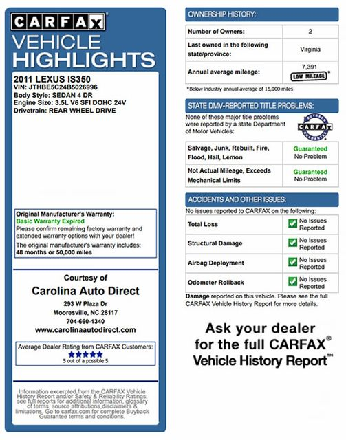 2011 Lexus IS 350 RWD - PREMIUM PKG - NAVIGATION Mooresville , NC 3