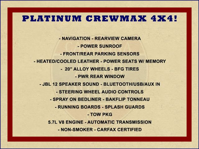 2011 Toyota Tundra PLATINUM CrewMax 4x4 - NAV - SUNROOF! Mooresville , NC 1