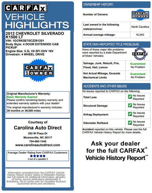 2012 Chevrolet Silverado 1500 LT EXT Cab 4x4 Z71 - ALL STAR EDITION! Mooresville , NC 3