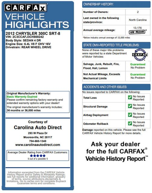 2012 Chrysler 300 SRT8 RWD - SAFETYTEC - NAV - PANO SUNROOFS! Mooresville , NC 3