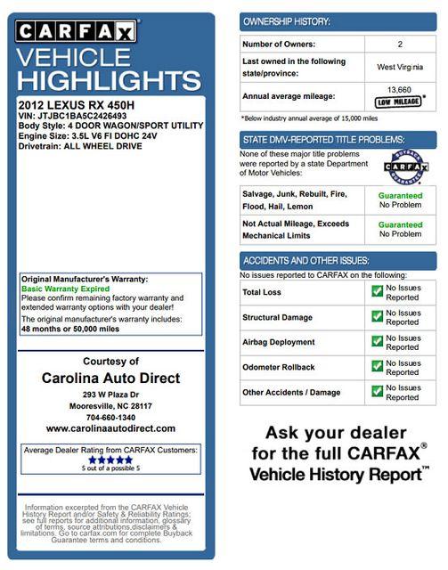 2012 Lexus RX 450h AWD - LUXURY EDITION - NAVIGATION - SUNROOF! Mooresville , NC 3