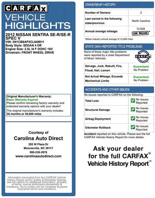 2012 Nissan Sentra SE-R Spec V FWD - w/ UPGRADED PKG! Mooresville , NC 3