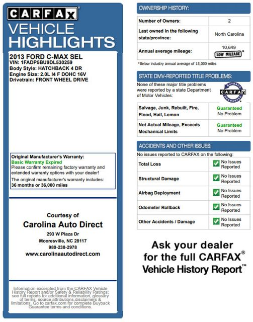 2013 Ford C-Max Hybrid SEL FWD - HEATED LEATHER! Mooresville , NC 3