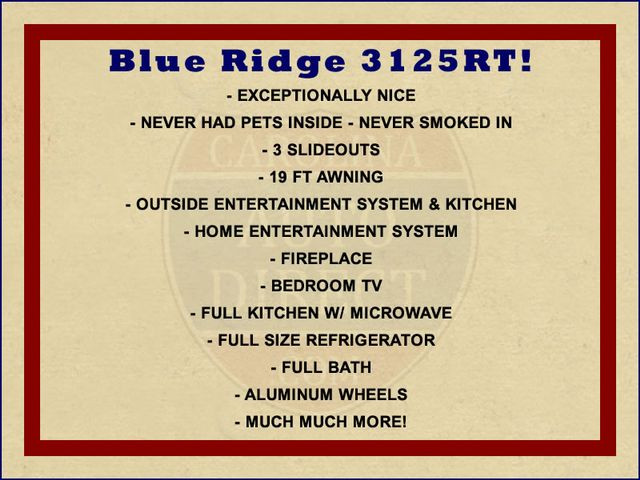 2013 Forest River Blue Ridge 3125RT - FIREPLACE - 4 LCD TVS! Mooresville , NC 1