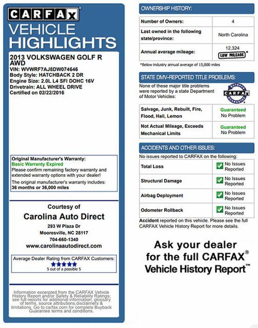 2013 Volkswagen Golf R AWD - TURBO - HEATED SEATS! Mooresville , NC 3