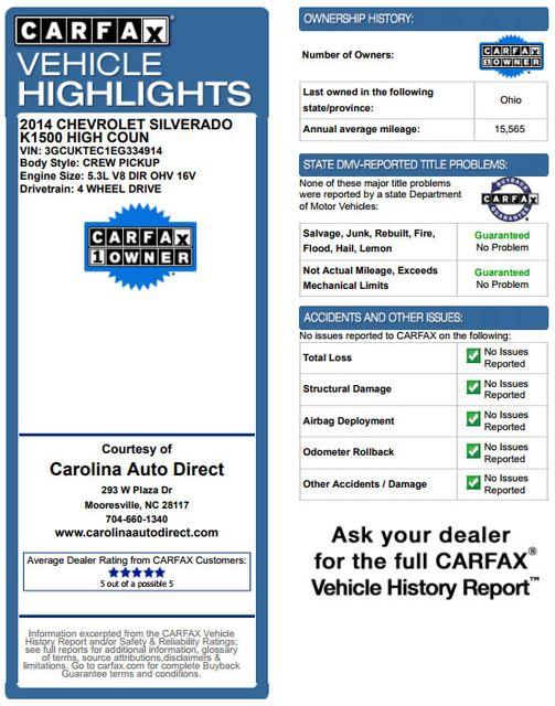 2014 Chevrolet Silverado 1500 High Country Premium Edition Crew Cab 4x4 Mooresville , NC 3