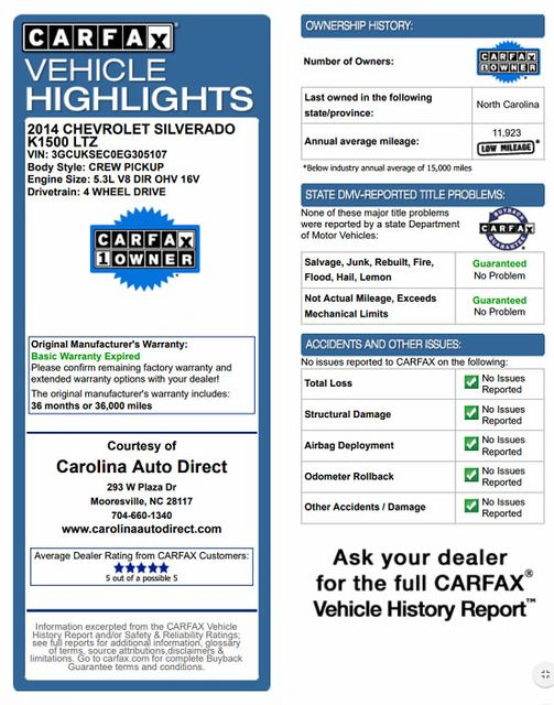 2014 Chevrolet Silverado 1500 LTZ PLUS Crew Cab 4x4 Z71 - NAVIGATION - SUNROOF! Mooresville , NC 3
