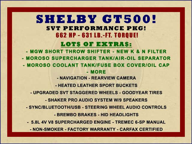 2014 Ford Mustang Shelby GT500 w/ SVT PERFORMANCE PKG! Mooresville , NC 1