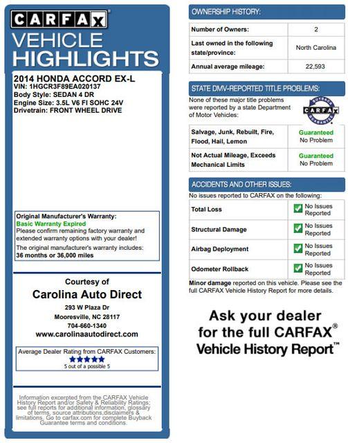 2014 Honda Accord EX-L - 3.5L V6 ENGINE - SUNROOF! Mooresville , NC 3