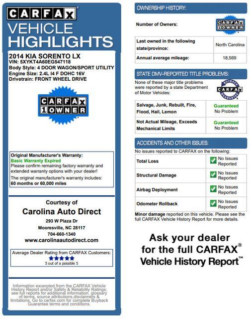 2014 Kia Sorento LX W/ CONVENIENCE PACKAGE (7 SEAT) - 3RD ROW! Mooresville , NC 3