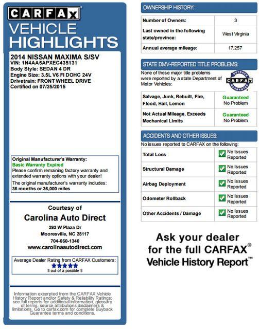 2014 Nissan Maxima 3.5 SV w/Sport & Sport Tech Pkgs! Mooresville , NC 3