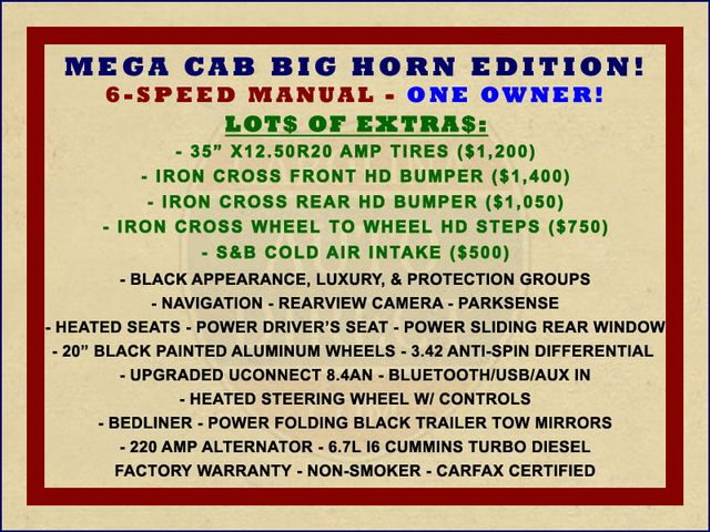 2014 Ram 2500 Big Horn Mega Cab 4x4 - 6-SP MANUAL - EXTRA$! Mooresville , NC 1
