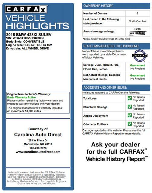 2015 BMW 428i xDrive AWD LUXURY LINE W/ TECH, PREMIUM & WEATHER PKGS! Mooresville , NC 3