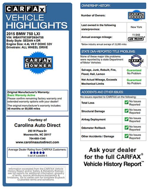 2015 BMW 750Li xDrive AWD - M SPORT EDITION - BRAND NEW TIRES! Mooresville , NC 3