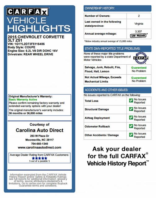 2015 Chevrolet Corvette Z51 3LT CARBON FIBER DUAL ROOF PKG! Mooresville , NC 3
