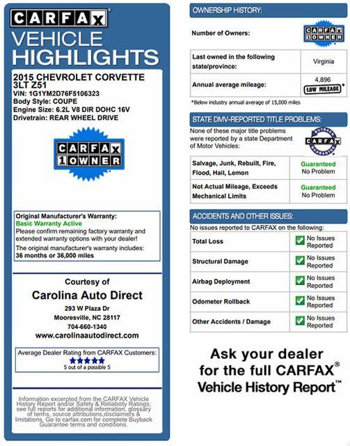 2015 Chevrolet Corvette Z51 3LT - COMPETITION SPORT BUCKETS! Mooresville , NC 2