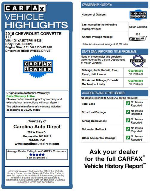 2015 Chevrolet Corvette LT - ZF1 APPEARANCE & CARBON FLASH PKGS! Mooresville , NC 3